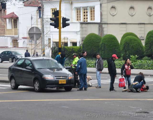 Bogota accident scene on Carrera 7