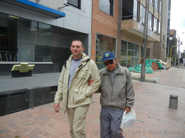 Helping a blind man in Bogota