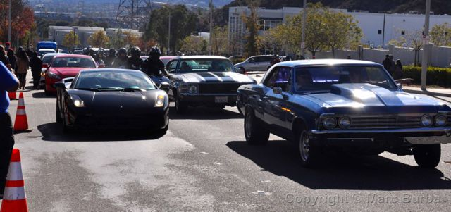 Line of cars Paul Walker Memorial Meet