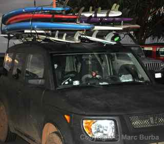 Honda Element surfboards, Maui