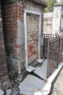 St. Louis Cemetery broken graves